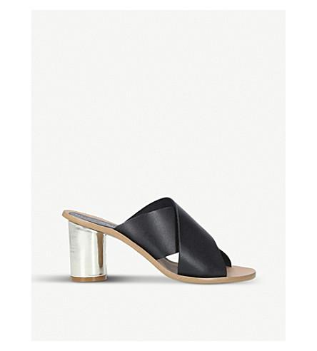 KURT GEIGER LONDON Aubrey cross-strap and metallic-heeled leather mules (Black