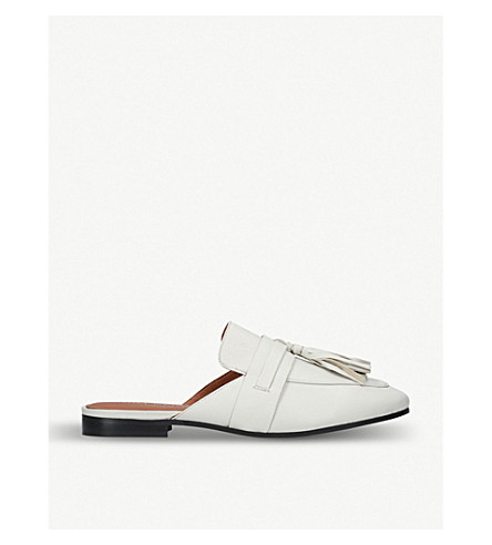 KURT GEIGER LONDON Kaiser backless leather mules (White