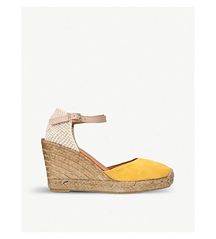 KURT GEIGER LONDON Monty suede and raffia espadrille wedge sandals (Yellow