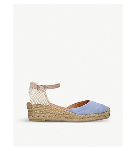 KURT GEIGER LONDON Minty suede and raffia espadrille wedge sandals (Pale+blue