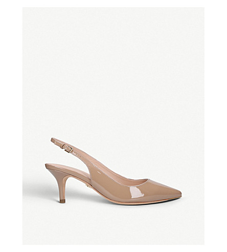 KURT GEIGER LONDON Cavendish patent-leather slingback pumps (Camel