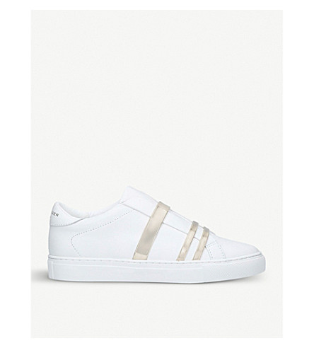 KURT GEIGER LONDON Lori leather and metallic-detail trainers (White