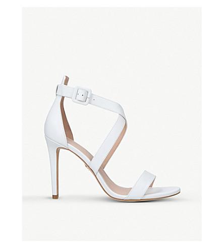 KURT GEIGER LONDON Knightsbridge leather cross-strap heeled sandals (White