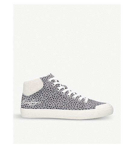 KURT GEIGER LONDON Lenny dotted suede high-top trainers (Grey