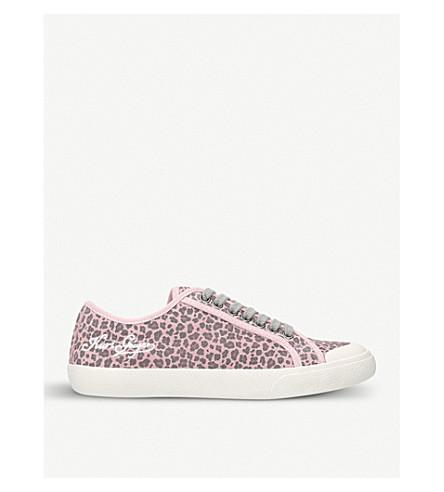 KURT GEIGER LONDON Levy leopard-print suede low-top trainers (Pink