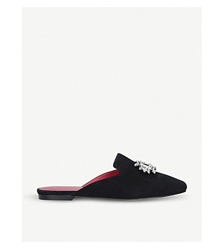 KURT GEIGER LONDON Pia brooch-embellished suede backless loafers (Black