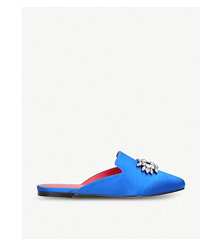 KURT GEIGER LONDON Pia satin brooch-embellished backless loafers (Blue
