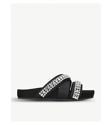 KURT GEIGER LONDON Majesty embellished sliders (Black