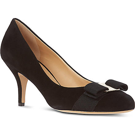 FERRAGAMO Carla 70 suede court shoes (Black