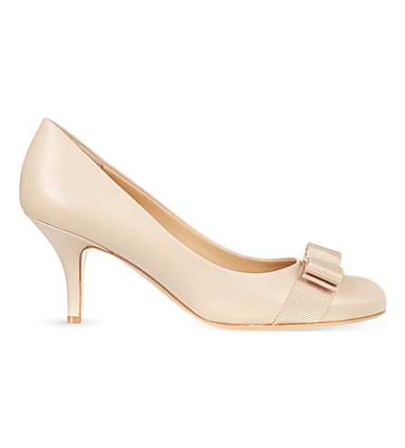SALVATORE FERRAGAMO Carla 70 leather courts (Nude