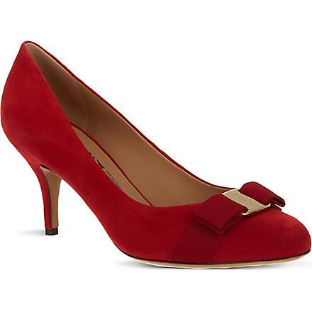 FERRAGAMO Carla suede court shoes (Red