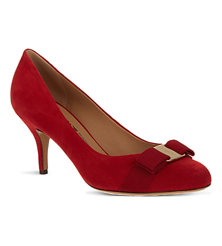 FERRAGAMO Carla suede court shoes (Red