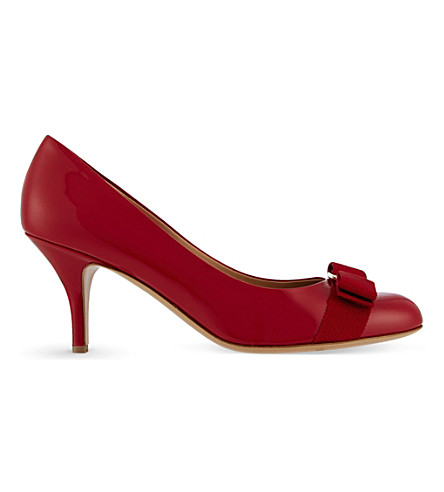 SALVATORE FERRAGAMO Carla 70 patent-leather courts (Red