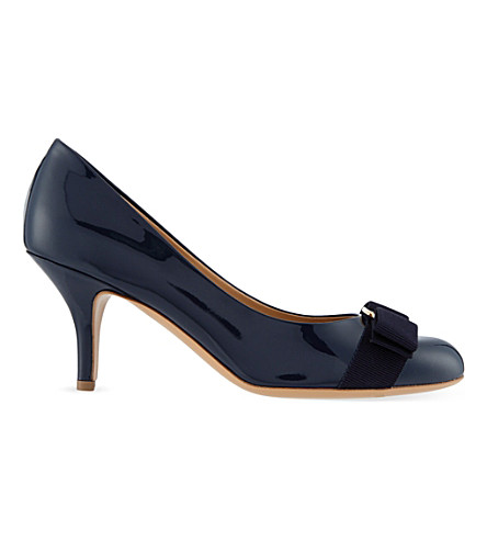 SALVATORE FERRAGAMO Carla patent-leather courts (Navy