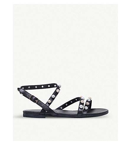 KURT GEIGER LONDON Mia pearl-studded leather sandals (Black