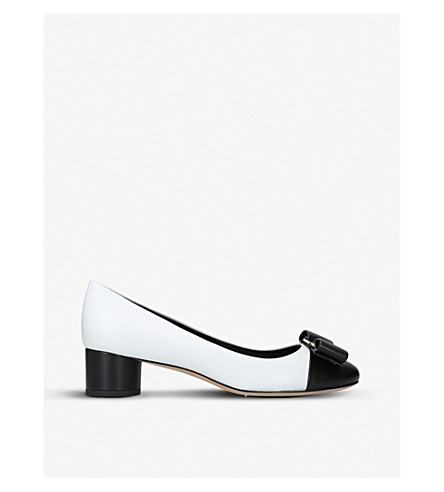 SALVATORE FERRAGAMO Ivrea patent-leather heeled courts (White