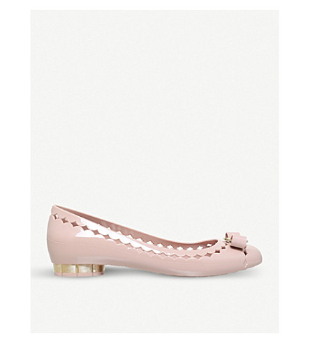 SALVATORE FERRAGAMO Flower heel laser-cut heeled courts (Pale+pink