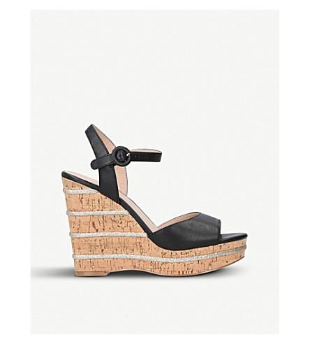 KURT GEIGER LONDON Ally leather wedge sandals (Black
