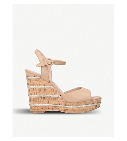 KURT GEIGER LONDON Ally leather wedge sandals (Tan