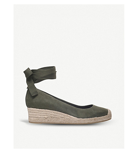 TORY BURCH Heather suede wedge espadrilles (Green+oth