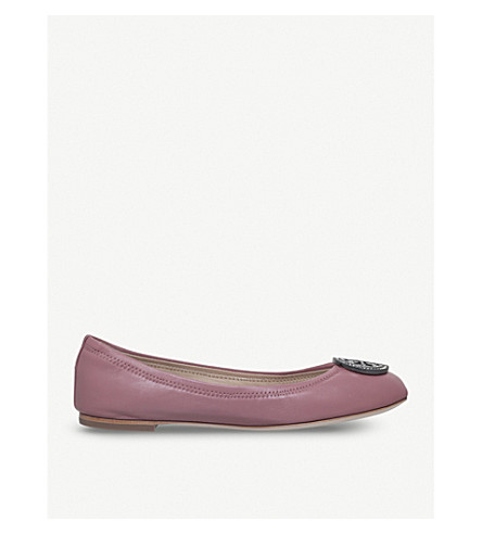 TORY BURCH Liana leather ballerina flats (Pale+pink