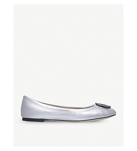 TORY BURCH Liana metallic leather ballerina flats (Silver