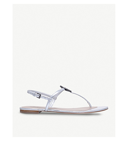 TORY BURCH Liana flat metallic leather sandals (Silver