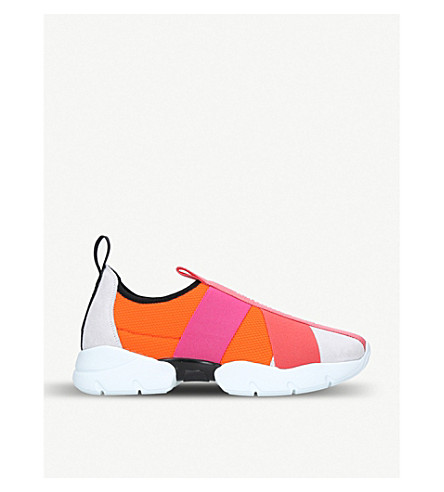 CITY UP NEOPRENE AND LEATHER SNEAKERS