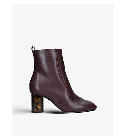 KURT GEIGER LONDON 大步 70 龟甲细节皮革踝靴 (葡萄酒