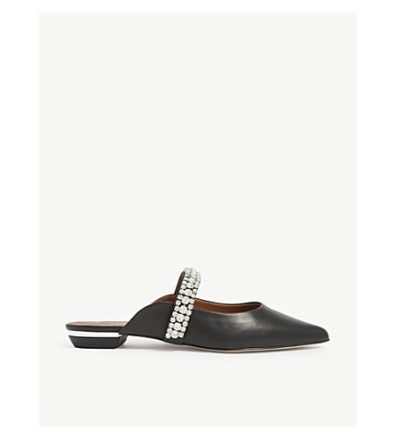 KURT GEIGER LONDON Princely embellished-strap leather mules (Black