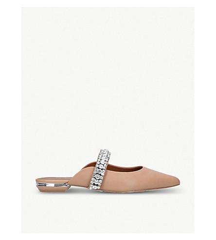 KURT GEIGER LONDON Princely embellished-strap leather mules (Camel