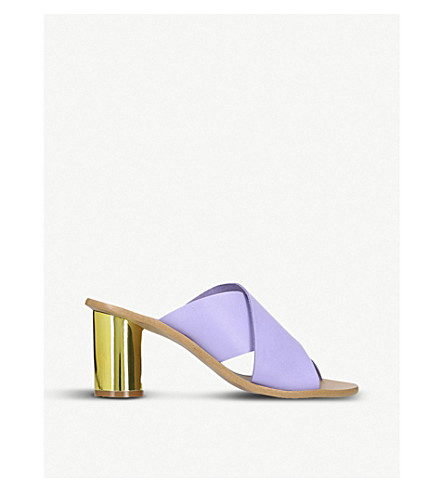 KURT GEIGER LONDON Aubrey cross-strap and metallic-heeled leather mules (Lilac