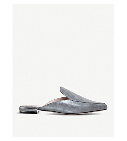 STUART WEITZMAN Goto metallic leather mules (Gunmetal