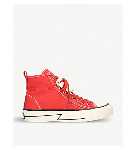 VISVIM Skagway fringed canvas trainers (Red