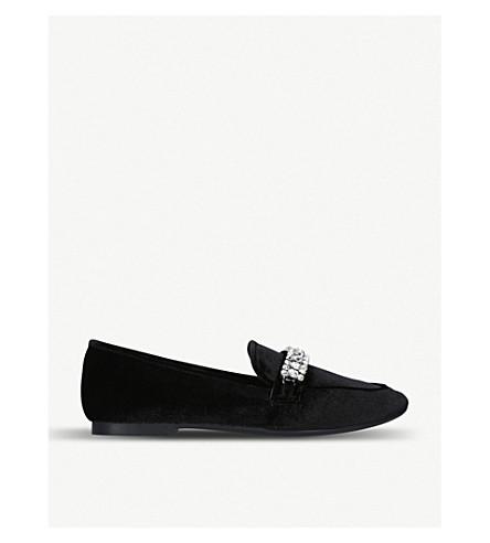 KURT GEIGER LONDON 伯爵夫人水晶点缀天鹅绒乐福鞋 (黑色