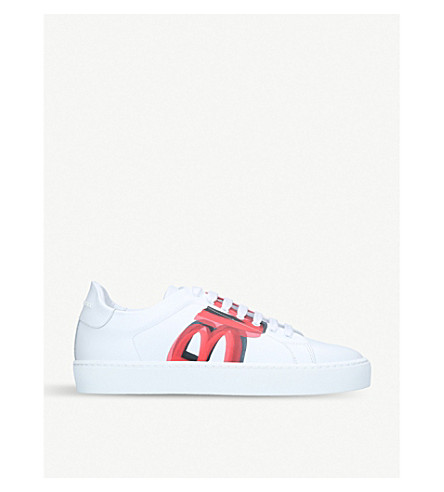 BURBERRY Westford graffiti-print leather low-top trainers (Red