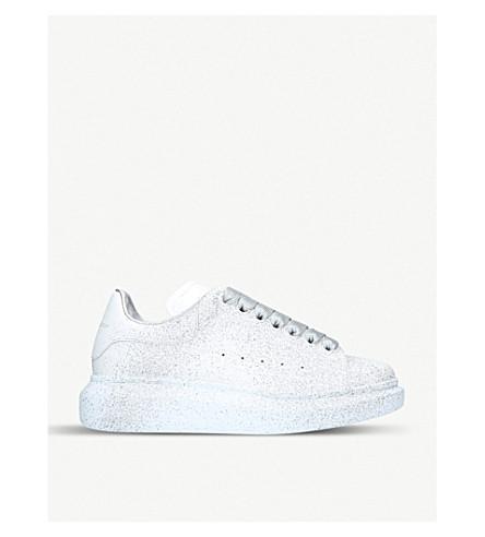 ALEXANDER MCQUEEN 喷涂皮革运动鞋 (银色 + com