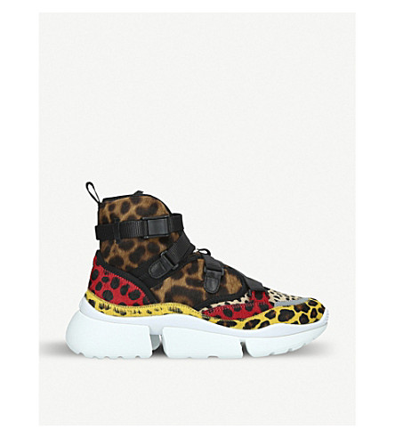 e970d526c231 CHLOE - Sonnie leopard-print leather and calf-hair high-top trainers ...
