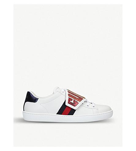 GUCCI 新 Ace 亮片装饰皮革运动鞋 (白色
