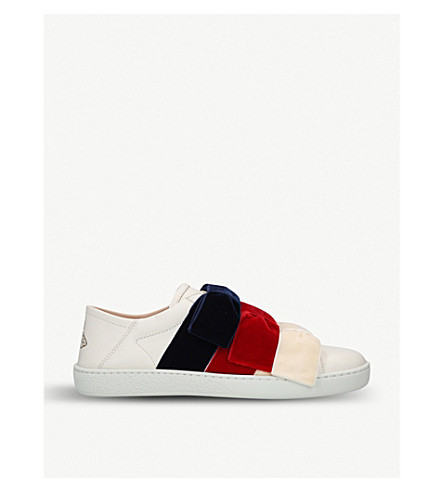 NEW ACE VELVET-BOW LEATHER SNEAKERS