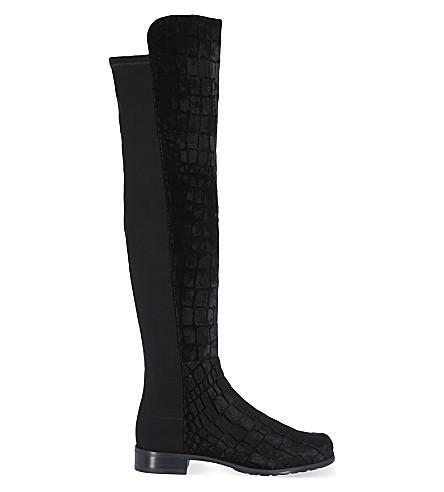 STUART WEITZMAN 5050 croc-textured velvet riding boots (Black