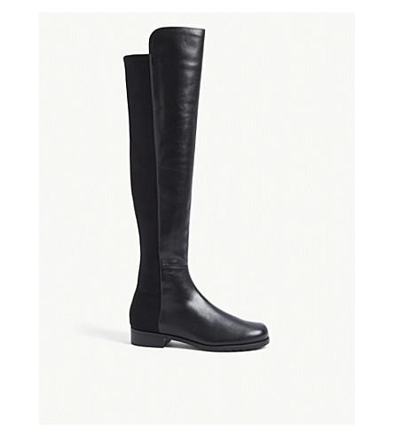 STUART WEITZMAN 50/50 麂皮绒膝高靴 (灰色/深色