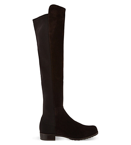 STUART WEITZMAN 50/50 suede knee high boots (Dark+brown