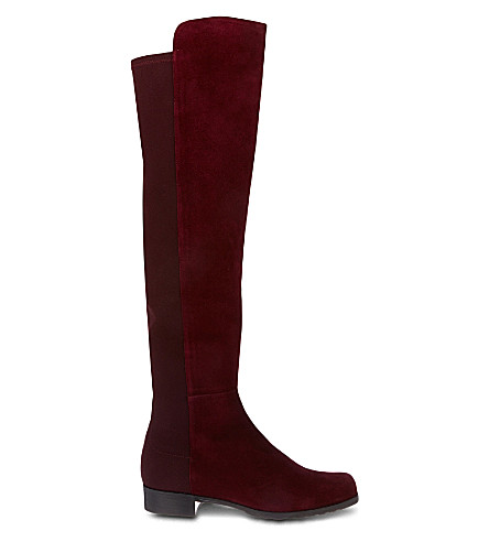 STUART WEITZMAN 50/50 knee high suede boots (Wine
