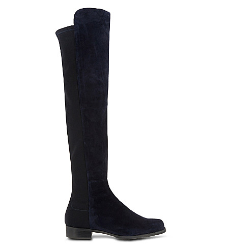 STUART WEITZMAN 50/50 knee-high suede boots (Navy