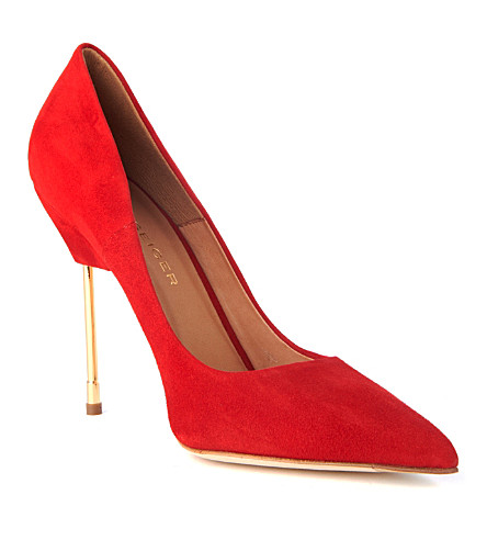 KURT GEIGER LONDON Britton suede court shoes (Red