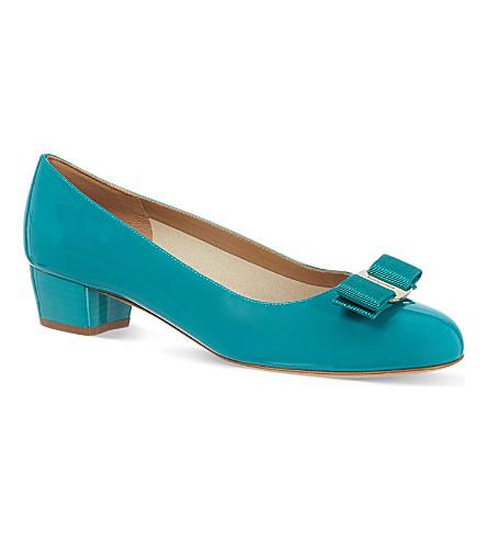 FERRAGAMO Vara patent court shoes (Turquoise
