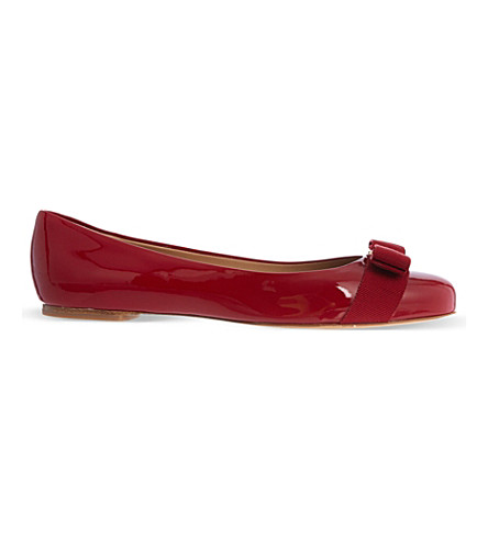 SALVATORE FERRAGAMO Varina patent-leather ballet flats (Red