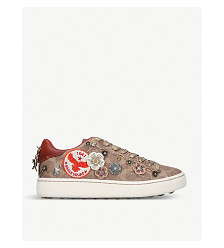 COACH Embellished canvas low-top trainers (Mid+brown