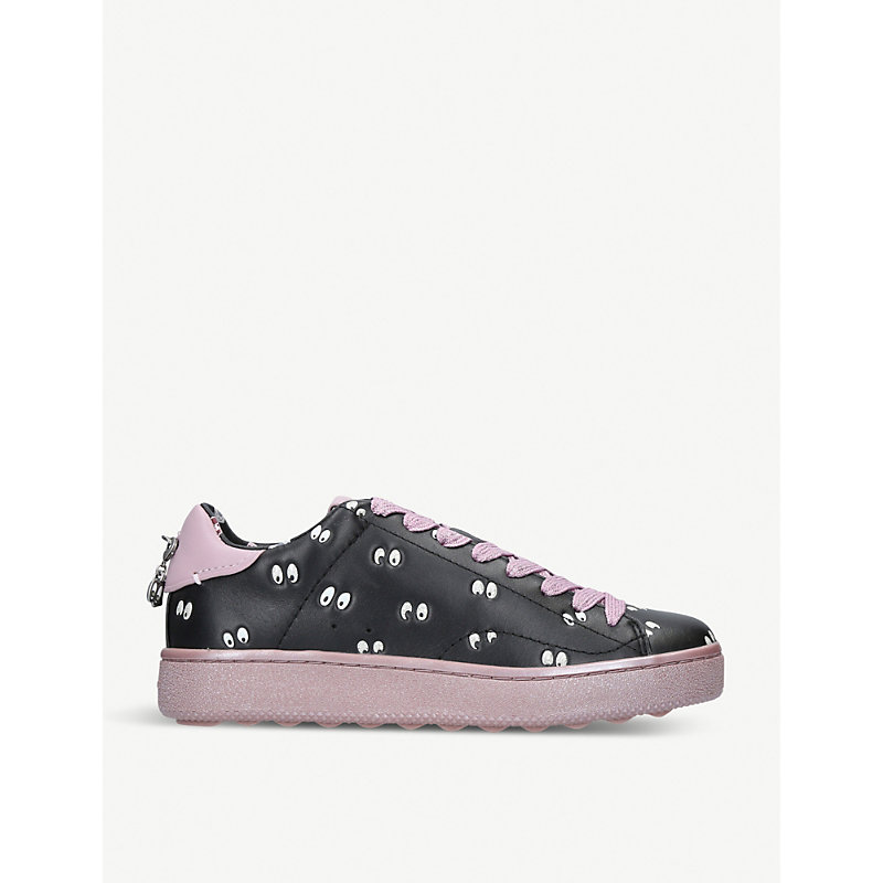 Dark Disney leather trainers